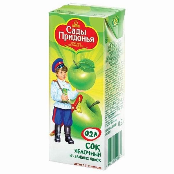 Сады Придонья Сок Яблоко зеленое с 3 мес., 200 мл