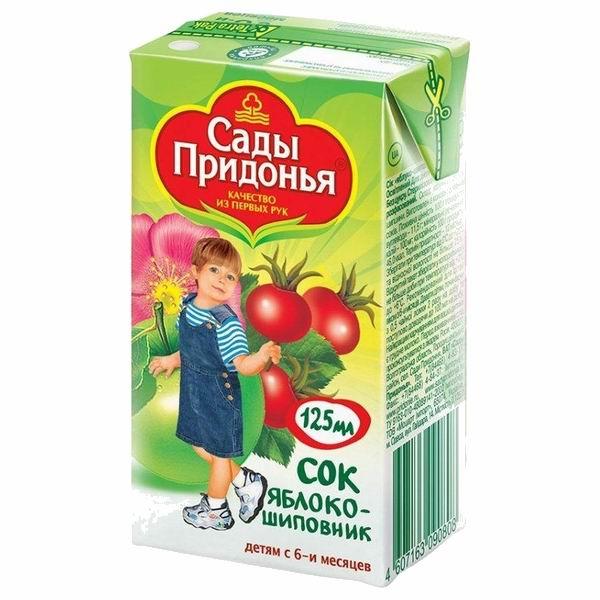Сады Придонья Сок Яблоко с шиповником с 6 мес., 125 мл