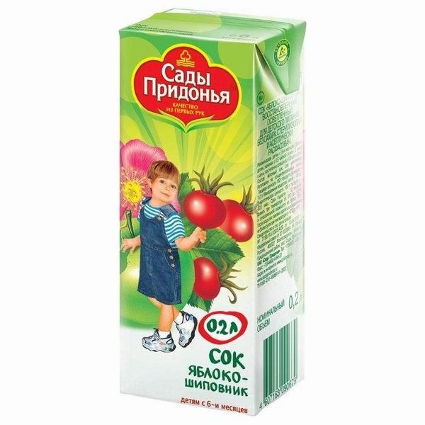Сады Придонья Сок Яблоко с шиповником с 6 мес., 200 мл