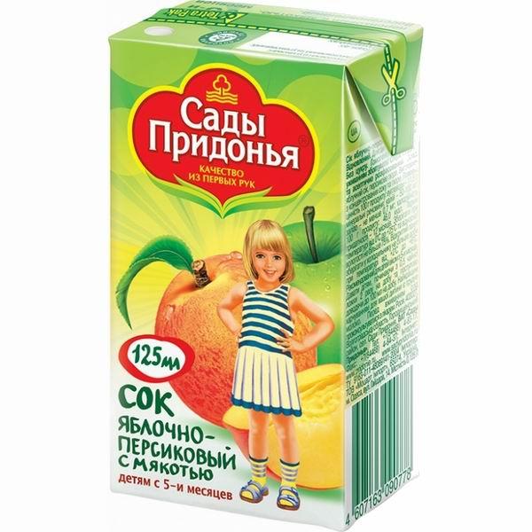 Сады Придонья Сок Яблоко и персик с мякотью с 5 мес., 125 мл