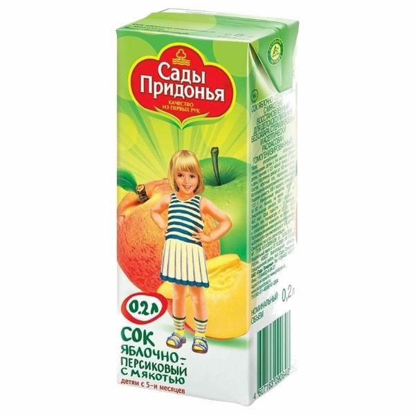 Сады Придонья Сок Яблоко и персик с мякотью с 5 мес., 200 мл