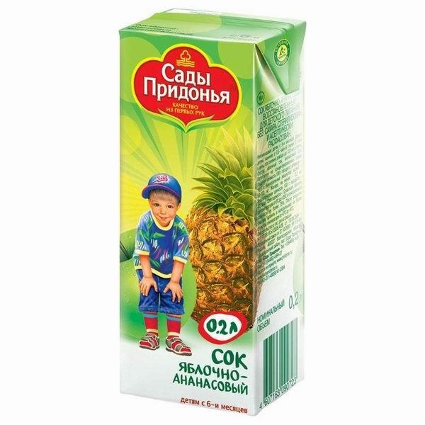 Сады Придонья Сок Яблоко с ананасом с 6 мес., 200 мл