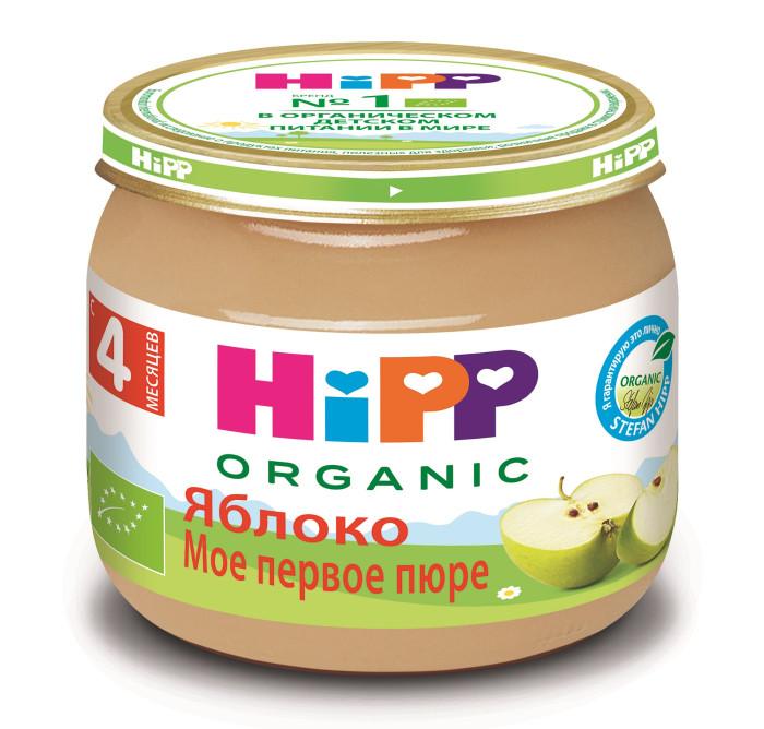 Hipp Пюре Яблоко с 4 мес., 80 гПюре Яблоко с 4 мес., 80 гПюре Hipp яблочное готовое к употреблению нежное фруктовое пюре из специальных сортов БИО-яблок с низким содержанием кислоты. Обогащено витамином С. Не содержит сахара. Не содержит крахмал.   Яблоко можно считать одним из лучших плодов для ребенка. В нем идеально сочетаются витамины, органические кислоты, микро- и макроэлементы, натуральный сахар. В яблоках содержатся витамины С, В1, В2, В6, Р, Е, каротин, калий, железо, марганец, кальций, фосфор, йод, пектины, сахара, органические кислоты. Благодаря высокому содержанию железа регулярное употребление яблок является хорошей профилактикой анемии. Сок и мякоть яблок зеленых сортов не вызывают аллергии, поэтому, их можно давать одними из первых при введении прикорма.  Состав: пюре яблочное (органический продукт), витамин С  Характеристики: рекомендуемый возраст: с 4 месяцев изготовлено из органических компонентов относится к гипоаллергенной программе питания HiPP не содержит генетически модифицированных организмов не содержит красителей, консервантов, искусственных ароматизаторов без сахара слабит стул<br>