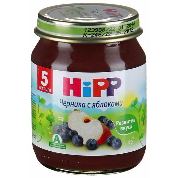 Hipp Пюре Черника с яблоками с 5 мес., 125 гПюре Черника с яблоками с 5 мес., 125 гПюре Hipp черника с яблоками обогащено витамином С. Нежное фруктово-ягодное пюре, обогащенное витаминно-минеральным комплексом, который обеспечивает полноценный по питательным свойствам рацион малыша, полностью готовое к употреблению.   Яблоко по праву считается одним из лучших плодов для ребенка. В нем идеально сочетаются витамины: С, В1, В2, В6, Р, Е, каротин, органические кислоты, микро- и макроэлементы: калий, железо, марганец, кальций, фосфор, йод, натуральный сахар. Употребление яблок является профилактикой анемии, способствует росту зубов у детей.   Состав: пюре яблочное (органический продукт), сок яблочный восстановленный (органический продукт), пюре черничное (органический продукт), мука рисовая грубого помола, витамин С  Характеристики: рекомендуемый возраст: с 5 месяцев изготовлено из органических компонентов относится к гипоаллергенной программе питания HiPP не содержит генетически модифицированных организмов не содержит красителей, консервантов, искусственных ароматизаторов без сахара<br>