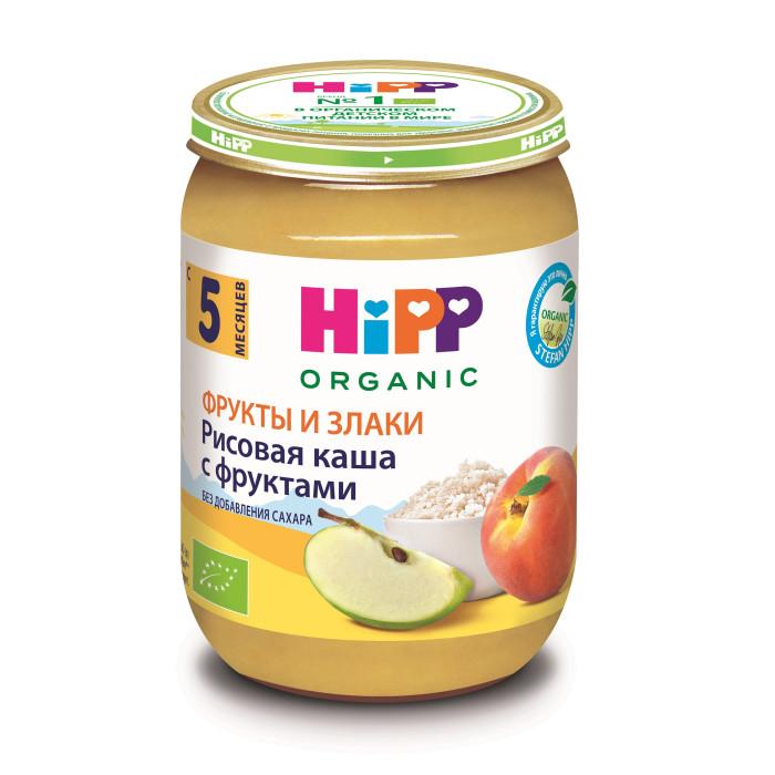 Hipp Безмолочная каша из цельного риса с фруктами с 5 мес., 190 гБезмолочная каша из цельного риса с фруктами с 5 мес., 190 гКаша Hipp из цельного риса с фруктами это полноценное питание из отборных фруктов, которое богато питательными веществами цельного зерна злаков. Не требуют подогревания – идеально подходят для полдников, как добавка к молочной каше или на десерт.  Пюре из смеси яблок и персиков с рисом, обогащенное витамином С, гомогенизированное, стерилизованное, для питания детей раннего возраста. Органический продукт.  Состав: сок яблочный восстановленный, пюре яблочное, пюре персиковое, мука рисовая грубого помола, регулятор кислотности - карбонат кальция, витамин С  Характеристики: рекомендуемый возраст: с 5 месяцев изготовлено из органических компонентов не содержит генетически модифицированных организмов не содержит красителей, консервантов, искусственных ароматизаторов без сахара  Энергетическая ценность 54 ккал. Пищевая ценность на 100г продукта: белок - 0,5г, углеводы - 11,8г, жиры - 0,2г, пищевые волокна - 1,0г, калий - 98-132мг, витамин С - 75мг.<br>