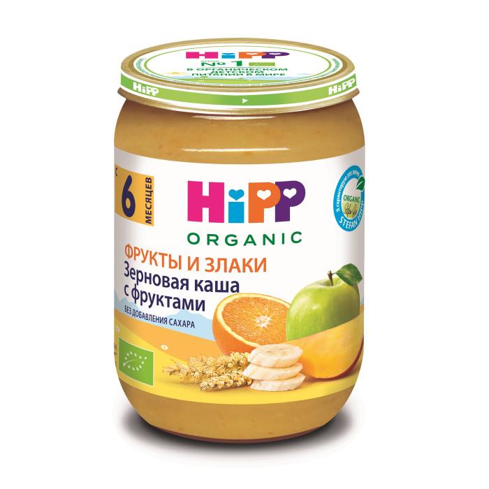 Hipp Безмолочная зерновая с фруктами с 6 мес., 190 гБезмолочная зерновая с фруктами с 6 мес., 190 гКаша Hipp зерновая с фруктами это полноценное питание из отборных фруктов, которое богато питательными веществами цельного зерна злаков. Не требуют подогревания – идеально подходят для полдников, как добавка к молочной каше или на десерт.  С низким содержанием кислоты, без добавления сахара, без ароматизаторов, без красителей, без консервантов, не содержит молочный белок, содержит глютен, без загустителей.  Состав: сок из сладких сортов яблок, яблоки, бананы, манго, апельсиновый сок, хлопья из цельного зерна пшеницы и овса, витамин С  Характеристики: рекомендуемый возраст: с 6 месяцев изготовлено из органических компонентов не содержит генетически модифицированных организмов не содержит красителей, консервантов, искусственных ароматизаторов без сахара  Пищевая ценность на 100г: белки 0,8г, жиры 0,1г, углеводы 15,9г, пищевые волокна 162-219мг, витамин С 75мг. Энергетическая ценность 71 ккал.<br>