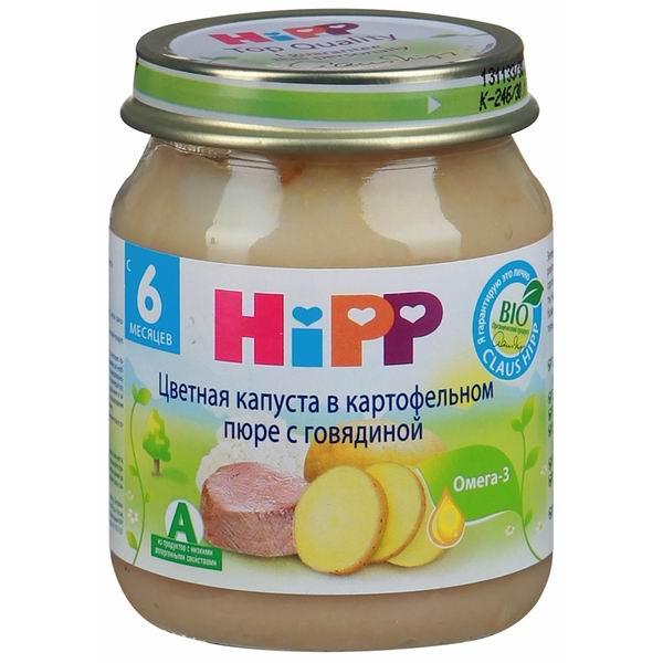 Hipp Пюре Цветная капуста, картофель, говядина с 6 мес., 125 г