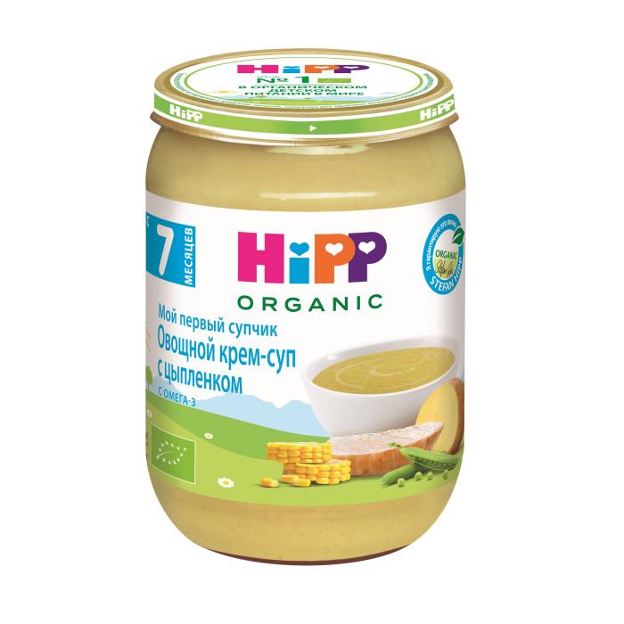 Hipp Овощной крем-суп с цыпленком с 7 мес., 190 гОвощной крем-суп с цыпленком с 7 мес., 190 гКрем-суп Hipp овощной с цыпленком в состав входит кукуруза, зеленый горошек, мясо цыпленка. Мясо цыпленка является ценным источником белка, а кукуруза обогащена питательным каратином и клетчаткой. Мой первый супчик HiPP — это полноценный обед для Вашего малыша.  Органический продукт. Для здорового и сбалансированного питания Вашего малыша: без добавления крахмала, без глютена, без молочного белка, без консервантов, красителей и ароматизаторов, без ГМО, щадящий режим производства для лучшего качества и вкуса.   Состав:  вода, кукуруза, картофель, мясо цыпленка, горошек зеленый, мука рисовая грубого помола, масло рапсовое, тмин молотый  Характеристики: рекомендуемый возраст: с 7 месяцев изготовлено из органических компонентов не содержит генетически модифицированных организмов не содержит красителей, консервантов, искусственных ароматизаторов содержит Омега 3 — важный компонент гармоничного роста и развития без соли  Пищевая ценность на 100г: белки, не менее - 2,4г, углеводы - 7,9г, жир не менее - 2,1г, полиненасыщенные жирные кислоты, не менее - 0,6г, линоленовая кислота (Омега-3), не менее 0,08г, пищевые волокна - 1,2г, поваренная соль -0,0г. Энергетическая ценность: 68 ккал.<br>