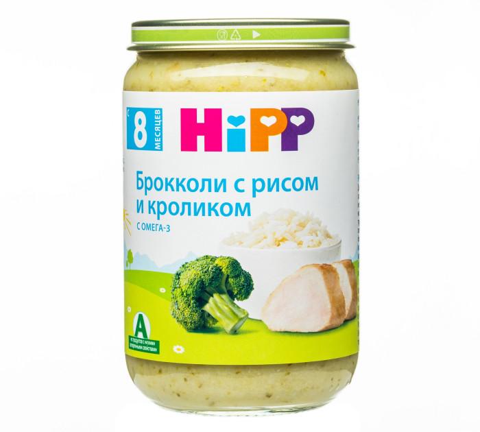 Hipp Пюре Брокколи с рисом и кроликом с 8 мес., 220 гПюре Брокколи с рисом и кроликом с 8 мес., 220 гHipp Брокколи с рисом и кроликом сбалансированное питание, которое учит жевать и помогает ребёнку постепенно привыкнуть к более твёрдой пище. Строго контролируется на содержание вредных веществ.  Органический продукт. Для здорового и сбалансированного питания Вашего малыша: без добавления крахмала, без глютена, без молочного белка, без консервантов, красителей и ароматизаторов, без ГМО, щадящий режим производства для лучшего качества и вкуса.   Состав:  вода, брокколи, рис отварной, мясо кролика, растительное масло, рисовый крахмал, йодированная поваренная соль. Содержание мяса: 18,7 г  Характеристики: рекомендуемый возраст: с 8 месяцев изготовлено из органических компонентов не содержит генетически модифицированных организмов не содержит красителей, консервантов, искусственных ароматизаторов с добавлением йодированной соли — для лучшего обеспечения организма йодом  Пищевая ценность на 100 г продукта: белок - 2,9 г, углеводы - 7 г из них сахар из плодов - 0,5 г, жиры - 2,9 г из них насыщенные жирные кислоты - 0,4 г, пищевые волокна - 0,7 г, натрий - 0,12 г, йод - 9 мкг, поваренная соль - 0,3 г. Энергетическая ценность - 66 ккал.<br>