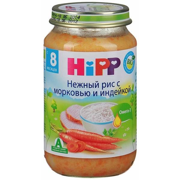 Hipp Пюре Нежный рис с морковью и индейкой с 8 мес., 220 г