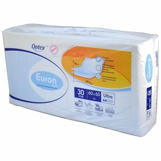 Euron Впитывающие простыни Soft Ultra 60x60 30 шт.Впитывающие простыни Soft Ultra 60x60 30 шт.Впитывающие простыни Euron Soft Ultra подходят для ухода за новорожденными в целях дополнительной защиты кроваток, колясок или пеленальных столиков.  Они быстро впитывают жидкость, не образуют складок, а нежный материал верхнего слоя не раздражает кожу. Пеленки также можно использовать для ухода за больными, страдающими различными формами недержания.  Особенности: Впитывающий слой не образует складок. Специальная пробивка распушенной целлюлозы обеспечивает максимально быстрое впитывание и распределение влаги. Система, предотвращающая образование запаха, снижает рост бактерий и обеспечивает нейтральную рН-среду. Нежный материал верхнего слоя не раздражает кожу, нижний слой водонепроницаем, его загнутые края предотвращают боковое протекание. Впитываемость: 750 мл. Материал: целлюлоза, нетканый материал, полиэтилен, сап. Размер пеленки: 60х60 см. В упаковке: 30 шт.<br>