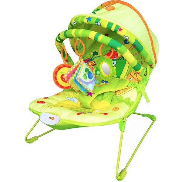 La-di-da Шезлонг Baby Hit Фруктовый рай с козырькомШезлонг Baby Hit Фруктовый рай с козырькомLa-di-da Шезлонг Фруктовый рай с козырьком для детей до 9 кг., выполнен из приятного мягкого материала, снабжен игровой дугой с подвесками и козырьком.  Особенности: Подвески снимаются и заменяются любыми другими Они помогают развивать у ребенка хватательный рефлекс и визуальное восприятие Спинка у шезлонга регулируется  Для безопасности малыша, шезлонг снабжен ремнем безопасности Шезлонг с музыкальной панелью с регулировкой громкости и вибрацией  Имеет складной тент от солнца Работает от батареек АА (в комплект не входят)<br>