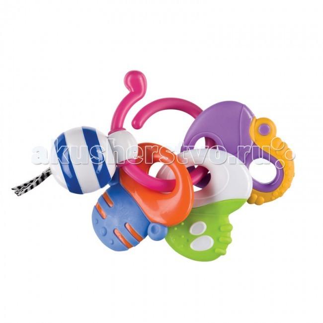 Погремушка Happy Baby прорезыватель Keys of Funпрорезыватель Keys of FunПогремушка-прорезыватель Keys of Fun Happy Baby  Развивает: слух, зрение; мелкую моторику; тактильные ощущения; коммуникативные навыки.  Характеристики: погремушка-прорезыватель  массирует десны  озвучена  мягкая текстурированная поверхность  яркие сочные цвета  кольцо для удобного крепления<br>