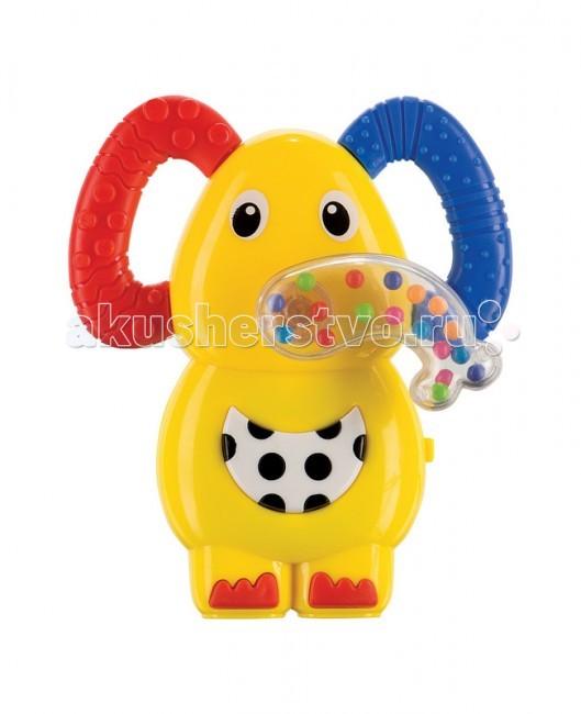 Погремушка Happy Baby прорезыватель Jumboпрорезыватель JumboМузыкальная погремушка-прорезыватель Jumbo Happy Baby  Развивает: слух, зрение; мелкую моторику; цветовое восприятие; тактильные ощущения; хватательные движения, концентрацию внимания.  Характеристики: игрушка-погремушка озвучена  2 прорезывателя  массирует десны мягкая текстурированная поверхность  яркие сочные цвета кольцо для удобного крепления<br>