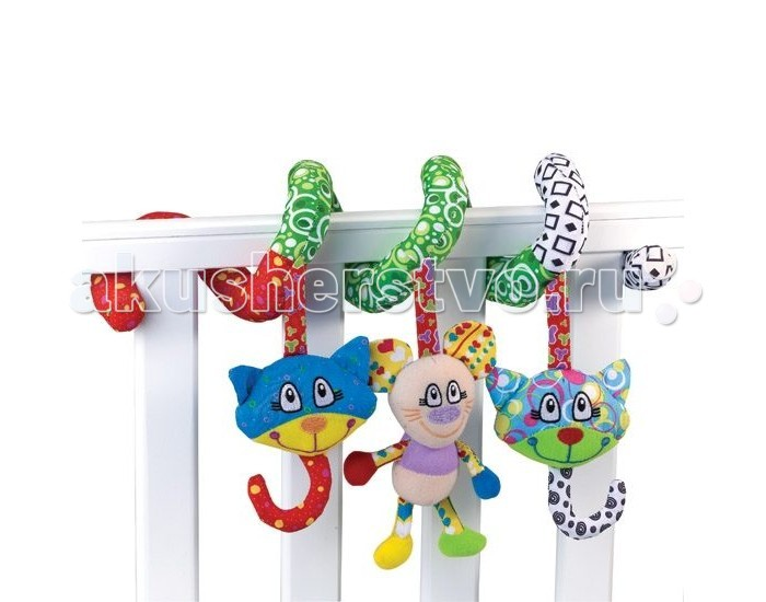 Жирафики Растяжка Кот и мышонокРастяжка Кот и мышонокРастяжка Жирафики Кот и мышонок 93938 привлечет внимание вашего малыша и заставит его улыбаться.   Эта модель легко крепится на кроватку или коляску.   Яркие игрушки подвески будут способствовать развитию зрительного восприятия и тактильных ощущений ребенка.<br>