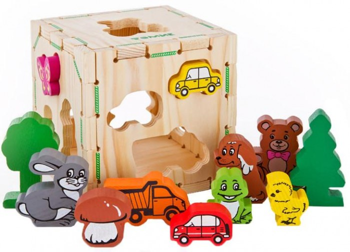 Деревянная игрушка Томик Сортер Веселые фигуркиСортер Веселые фигуркиСортер Веселые фигурки- это увлекательная детская развивающая игрушка-головоломка для развития мелкой моторики, координации и логики ребёнка.  Принцип игры: подобрать для каждого элемента соответствующее по форме отверстие в кубе и протолкнуть внутрь.  Рассмотрите с ребенком детали, попросите его их назвать, а затем предложите распределить по группам: животные, растения, машины.  Заяц, лягушка, цыпленок, собака, медведь, бабочка, дерево и машинки могут стать героями домашнего спектакля.  Фигурки качественно обработаны и покрыты нетоксичной краской.  Грани деревянного куба снимаются.  В комплект входит: Куб с отверстиями Деревянные фигурки - 12 шт  Размер фигурок от 4 до 7,5 см Размер куба: 12 х 12 х 12 см.<br>