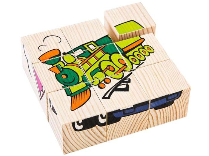 Деревянная игрушка Томик Кубики Транспорт 9 шт.