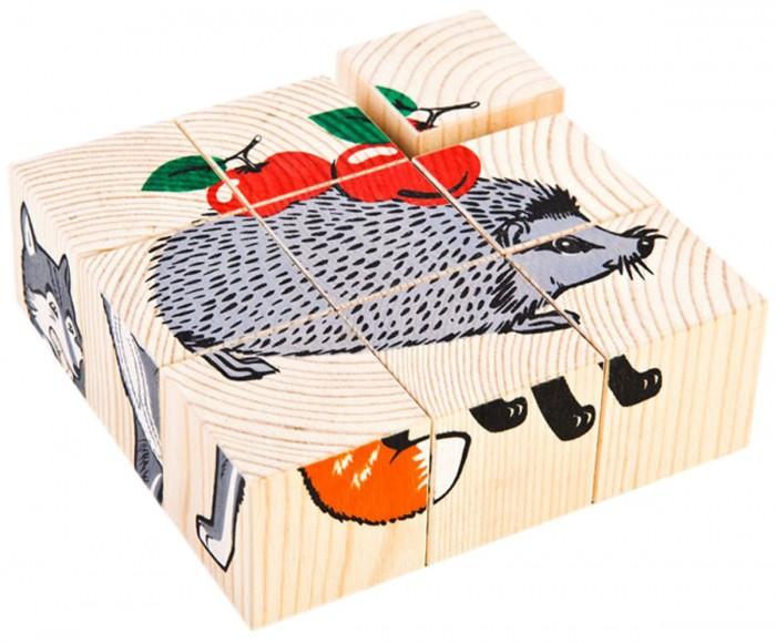 Деревянная игрушка Томик Кубики Животные леса 9 шт.