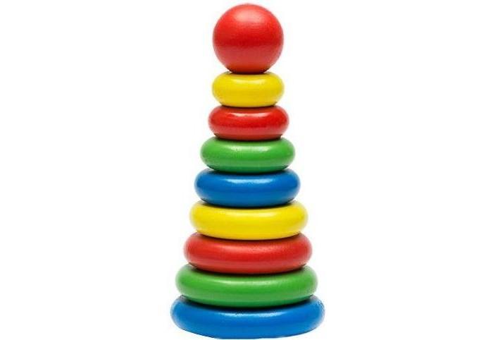 Деревянная игрушка Томик Пирамидка 9 деталейПирамидка 9 деталейКрасочная пирамидка из 9 деталей. Все детали пирамидки изготовлены из натурального дерева.  Все используемые материалы разрешены для изготовления детских игрушек и имеют гигиенические заключения.  Количество деталей: 9 деталей + основание.  Рекомендовано для детей с 1-го года жизни под присмотром родителей.  Высота пирамидки 15 см. Диаметр нижнего кольца 6 см.  Кольца четырех цветов: синий, красный, желтый, зеленый.<br>