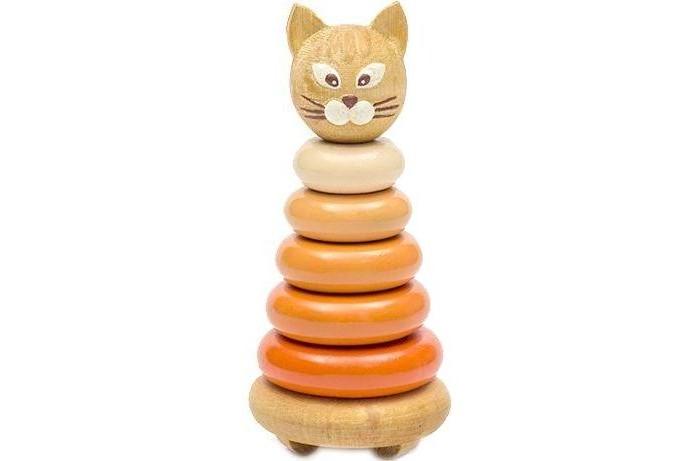 Деревянная игрушка Томик Пирамидка Котенок 7 деталейПирамидка Котенок 7 деталейПирамидка Котенок Томик 501 - это яркая развивающая игрушка, которая непременно понравится малышу и не позволит ему скучать.   Кольца необходимо выстраивать от большего к меньшему.   В процессе игры малыш познакомится с разными цветами и размерами, научится соотносить и сравнивать предметы по этим признакам.<br>