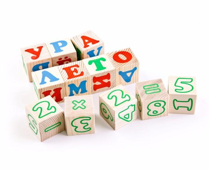 Деревянная игрушка Томик Кубики Алфавит с цифрами русский 20 шт