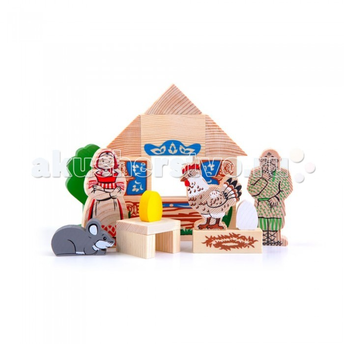 Деревянная игрушка Томик Конструктор Сказки: Курочка Ряба