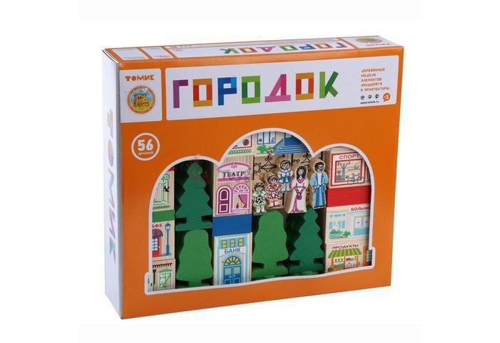 Деревянная игрушка Томик Конструктор Веселый городок 56 деталейКонструктор Веселый городок 56 деталейКонструктор Томик Веселый городок включает в себя 56 деревянных деталей: человечки, деревья, блоки для домика и крыши. Детали деревянного конструктора тщательно обработаны и покрыты нетоксичной краской, поэтому играть с такой игрушкой могут даже малыши.  Цветные элементы подарят ребенку массу положительных эмоций и помогут создать свой сказочный городок. Окна и двери нарисованы на одной стороне брусочков, у человечков рисунок тоже только спереди.  Конструирование способствует развитию пространственного мышления, глазомера, координации и мелкой моторики рук.  Деревянные конструкторы компании Томик можно комбинировать между собой. Большое количество деталей позволит детям не ограничивать свои фантазии и создавать более сложные постройки.  Материал: дерево. Размеры упаковки: 29 х 25 х 6 см.<br>