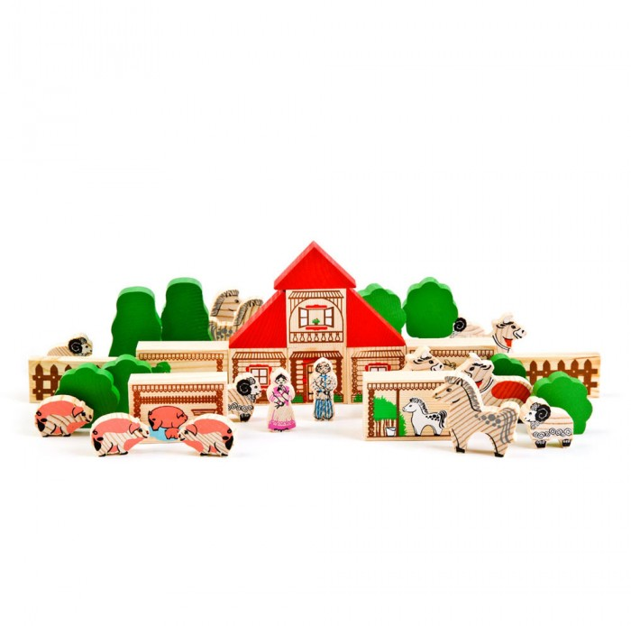 Деревянная игрушка Томик Конструктор Ферма 42 деталиКонструктор Ферма 42 деталиКонструктор Томик Ферма включает в себя 42 деревянные детали: человечки, животные, деревья, блоки для домика и крыши. Детали деревянного конструктора тщательно обработаны и покрыты нетоксичной краской, поэтому играть с такой игрушкой могут даже малыши.  Цветные элементы подарят ребенку массу положительных эмоций и помогут создать свой сказочный городок. Окна и двери нарисованы на одной стороне брусочков, у человечков и животных рисунок тоже только спереди.  Конструирование способствует развитию пространственного мышления, глазомера, координации и мелкой моторики рук.  Деревянные конструкторы компании Томик можно комбинировать между собой. Большое количество деталей позволит детям не ограничивать свои фантазии и создавать более сложные постройки.  Материал: дерево.<br>