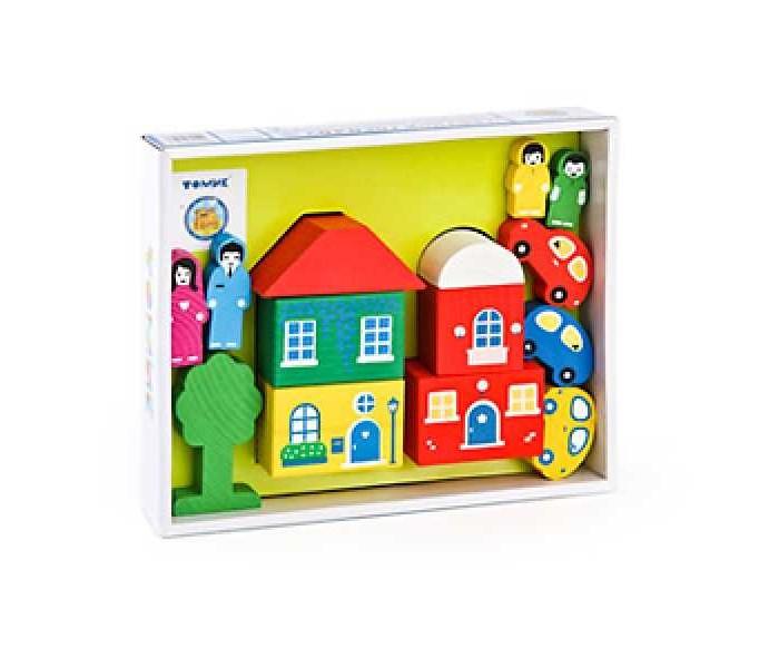 Деревянная игрушка Томик Конструктор Цветной городок 14 деталейКонструктор Цветной городок 14 деталейКонструктор Томик Цветной городок включает в себя 14 деревянных деталей: человечки, транспорт, блоки для домика и крыши. Детали деревянного конструктора тщательно обработаны и покрыты нетоксичной краской, поэтому играть с такой игрушкой могут даже малыши.  Цветные элементы подарят ребенку массу положительных эмоций и помогут создать свой сказочный городок. Окна и двери нарисованы на одной стороне брусочков, у человечков рисунок тоже только спереди.  Конструирование способствует развитию пространственного мышления, глазомера, координации и мелкой моторики рук.  Деревянные конструкторы компании Томик можно комбинировать между собой. Большое количество деталей позволит детям не ограничивать свои фантазии и создавать более сложные постройки.  Материал: дерево.<br>