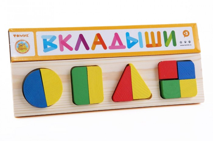 Деревянная игрушка Томик Рамка-вкладыш Геометрия большая