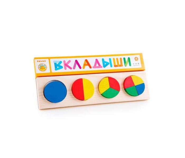 Деревянная игрушка Томик Рамка-вкладыш Геометрия круг