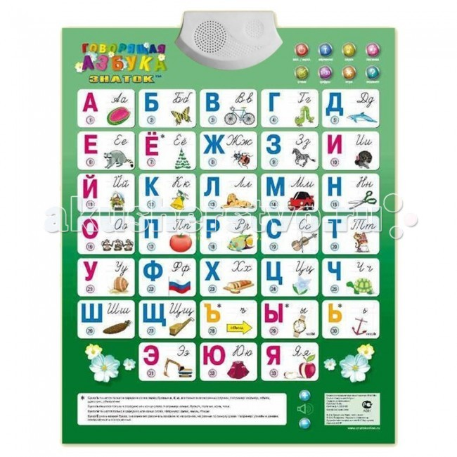 Знаток Электронный звуковой плакат Говорящая азбука 2009г.Электронный звуковой плакат Говорящая азбука 2009г.Электронный звуковой плакат ЗНАТОК Говорящая азбука вобрал в себя все пожелания родителей и педагогов. Главным образом он предназначен для детей, которые только начинают изучать русский алфавит. На большом и красочном плакате изображены буквы, картинки к каждой из них и кнопочки, на которых указан порядковый номер соответствующей буквы алфавита.  Функции плаката: Режим Цифры. При выборе этого режима, нажимая на кнопку с цифрой, можно узнать порядковый номер буквы в алфавите и освоить счет до 33. Режим Звуки. В этом режиме, нажимая кнопку рядом с буквой, малыш слышит звук, соответствующий этой букве. Изучение - перечисление всех букв алфавита по порядку Игра - позволяет ребенку отвлечься, а заодно и узнать что-то новое Экзамен - предлагается найти букву, дается две попытки, при отрицательном втором ответе дается другое задание (переход к другой букве).  И, как всегда, электронный плакат Говорящая Азбука (ЗНАТОК) это: правильное произношение слов возможно как самостоятельное изучение русского языка, так и с преподавателем прописи рекомендованные министерством образования и науки РФ может располагаться на столе или на стене регулируемая громкость воспроизведения звуков влагостойкая поверхность сенсорные кнопки автоматическое выключение плаката для экономии батареек  Учимся, играем, поем, отдыхаем и даже сдаем экзамен при помощи нажатия на кнопочку.   Плакат «Говорящая азбука» развивает память и внимательность. Так же ребенок научится самостоятельности, так как для изучения алфавита с помощью плаката не требуется поддержка взрослых. На плакате есть сенсорные кнопки, и он может автоматически отключаться, если ребенок забыл это сделать после окончания игры. Электронный звуковой плакат «Говорящая азбука» рекомендуется детям от 3 лет и развивает познавательный интерес ребенка.  Питание осуществляется тремя пальчиковыми батареями типа ААА (входят в комплект).  Размеры