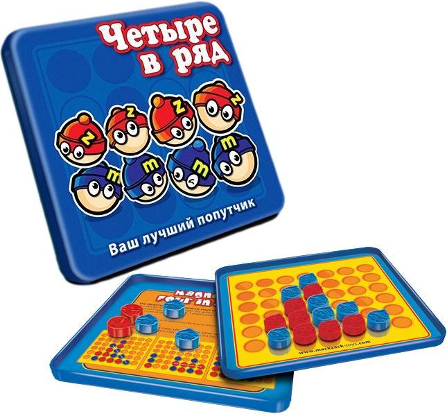 Mack&amp;Zack Магнитная игра Четыре в рядМагнитная игра Четыре в рядМагнитная игра MACK&ZACK Четыре в ряд - станьте первым, кто выстроит 4 фишки в ряд и одержите победу!  Цель игры: выстроить в ряд четыре фишки по вертикали, горизонтали или диагонали.  Правила игры Правила игры очень простые.  В Четыре в ряд играют на поле, которое состоит из 7 колонок.  В каждой колонке есть 6 ячеек.  2 игрока совершают ходы по очереди, помещая фишку в одну из колонок.  Фишку следует помещать в нижнюю свободную ячейку в колонке. Первый игрок, который выстроит в ряд четыре фишки по вертикали, горизонтали или диагонали, одерживает победу.  Игра заканчивается в случае, если возникает тупиковая ситуация до того, как кто-то успел выиграть.  Игра Четыре в ряд известна нам на протяжении многих веков. Капитан Джеймс Кук любил играть в эту игру со своими товарищами моряками во время своих долгих плаваний, поэтому ее называли Хозяйкой Капитана. Помимо этого, игра также известна под названиями Connect Four, Four Up, Plot Four and Fourplay.  Особенность данной игры состоит в том, что фишки снабжены магнитами, которые не позволяют им падать с металлического поля и теряться, а компактные размеры игры позволяют брать ее с собой в дорогу и играть в пути.  Состав игры: 42 фишки и инструкция.  Материал: металл, пластик, бумага. Диаметр фишки: 1 см. Размеры игрового поля: 13 см x 13 см. Размеры упаковки: 15 см x 15 см x 1 см.<br>