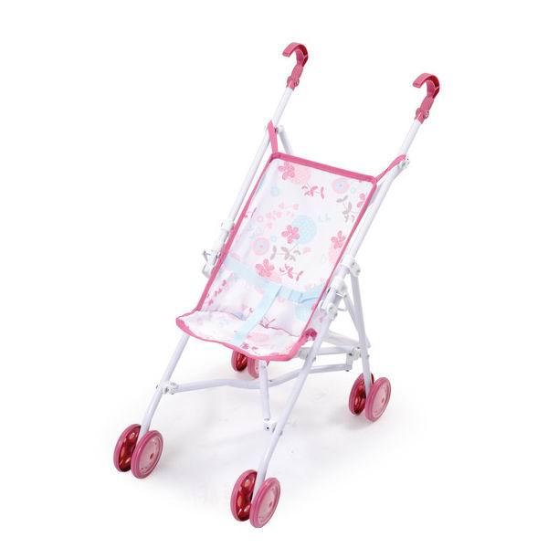 Коляска для куклы Smoby Baby NurseBaby NurseСтильная колясочка Smoby для веселых прогулок с любимой куклой.   Коляска легко трансформируется в удобную для переноса тросточку.   Коляска имеет легкую металлическую основу, тканевые элементы легко снимаются и стираются.   Игрушка оснащена комфортным сиденьем с цветочным принтом и удобными пластиковыми поручнями темно-розового цвета.   Подойдет для куколок высотой до 42 см.  Высота ручек коляски: 45.5 см.<br>