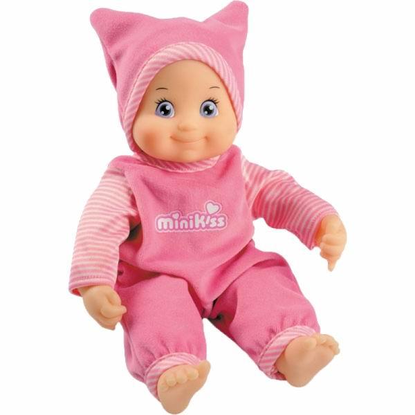Smoby Пупс Minikiss 27 смПупс Minikiss 27 смКуклы Minikiss от Smoby — это милые, добродушные игрушки для деток от 12 месяцев.  Абсолютно безопасные, эти игрушки мягкие и приятные на ощупь. Тело куклы выполнено из ткани, а личико, ручки и ножки — из пластика.  Эта малышка Minikiss обязательно позабавит Вашу дочурку. Нажмите на животик малышки и она пошлет Вам воздушный поцелуй.  Для работы игрушки необходимы 3 батарейки АА.<br>