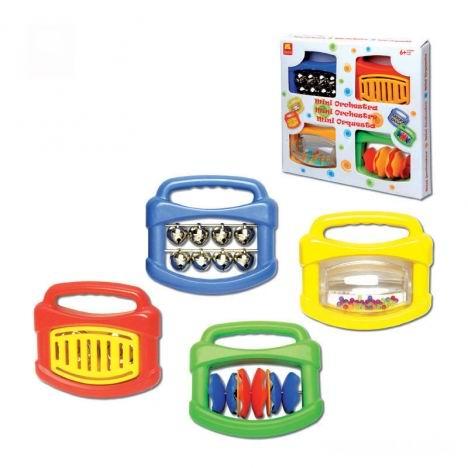 Музыкальная игрушка Halilit Мини-оркестрМини-оркестрНабор «Мини-оркестр»  В набор входят 4 популярных музыкальных инструмента: погремушка с бубенчиками, погремушка-тамбурин, погремушка «КлипКлап», погремушка с разноцветными мелкими шариками.   Все инструменты просты и удобны в использовании.   Эти музыкальные инструменты помогут ребенку открыть прекрасный мир звуков.   Израильская компания Halilit специализируется на поставках высококачественных игрушек и музыкальных инструментов для малышей и детей дошкольного возраста. Вниманию потребителей предлагается широкий выбор новаторских продуктов, разработанных, чтобы радовать и побуждать к творчеству детей, родителей и учителей. Компания гордится тем, что все её изделия в значительной степени способствуют развитию и обучению детей. Например, музыкальные игрушки Halilit помогут даже самым маленьким детям ощутить радость от создания музыки. Ведь в команду разработчиков музыкальных инструментов Halilit входят талантливые музыканты и, благодаря этому, детские музыкальные инструменты не только отлично выглядят, но и прекрасно звучат. Перкуссионные инструменты точно настроены с помощью электронных приборов и отлично подходят для занятий в классе или дома. Все игрушки Halilit разработаны профессионалами высокого класса и произведены в соответствии с высочайшими стандартами, которые во многих случаях превосходят международные стандарты безопасности. А самое главное — игрушки вдохновляют и развивают воображение, забавляют, обучают и просто делают детей счастливыми!<br>