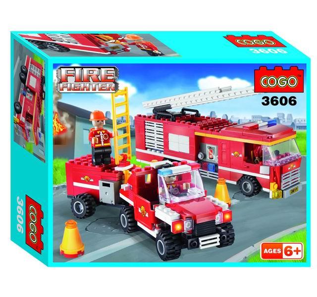 Конструктор Cogo Пожарный. Пожарные автомобили 319 деталей