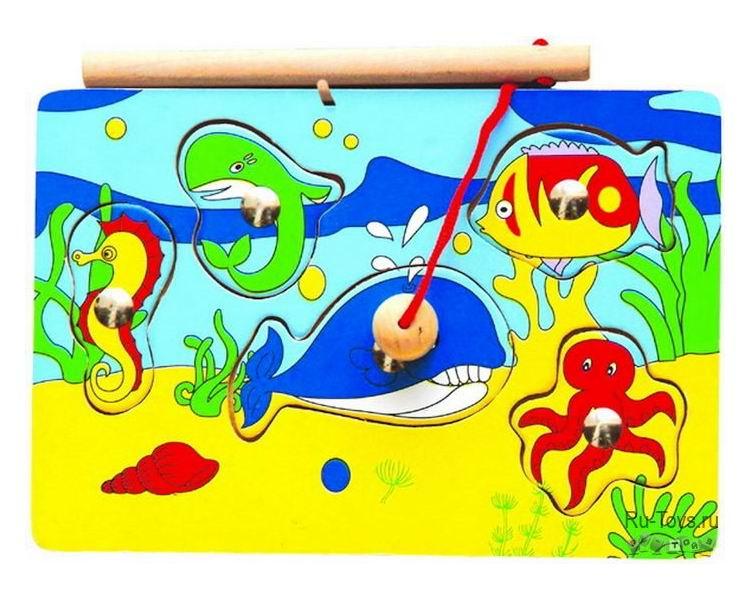 Деревянная игрушка Вудик Игра рыбалка 3616