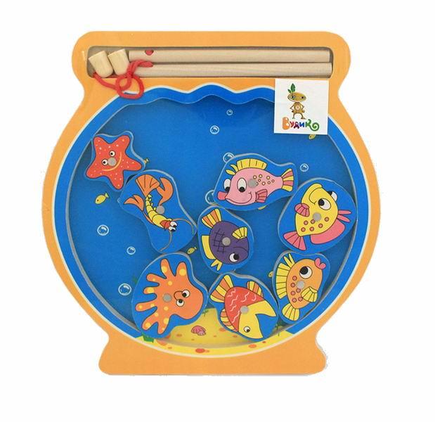 Деревянная игрушка Вудик Игра рыбалка Аквариум
