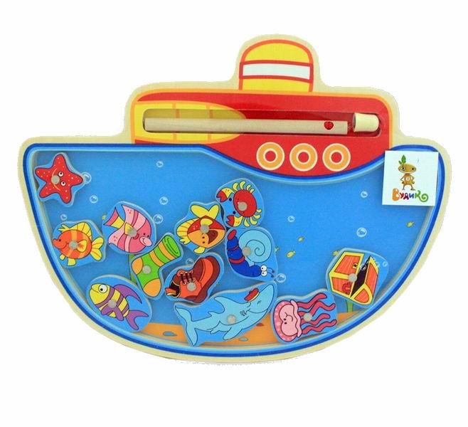 Деревянная игрушка Вудик Игра рыбалка Параходик