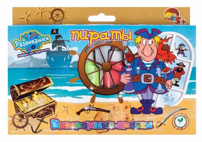 Краски Развивашки Витражные краски 6 цветов Пираты