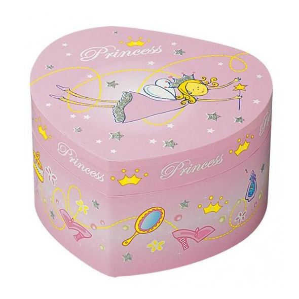 Trousselier Музыкальная шкатулка в форме сердца ПринцессаМузыкальная шкатулка в форме сердца ПринцессаКрасивая музыкальная шкатулка Принцесса с отделениями для хранения драгоценностей и крутящейся под музыку фигуркой принцессы.  Выполненная из дерева, имеет небольшое зеркальце внутри.   Каждая девочка будет в восторге! Не забываемый подарок на день рождения!   Когда шкатулка открывается, играет приятная классическая мелодия (SERENADE - F.P. SCHUBERT)  Размер: 15 х 15 х 8.6 см  Поставляется в подарочной коробке Trousselier.   Французский бренд Trousselier вот уже более 40 лет создает уникальные коллекции детских игрушек, товаров для дома и интерьера. Вся продукция изготовлена из натуральных материалов с соблюдением высоких европейских стандартов качества.<br>