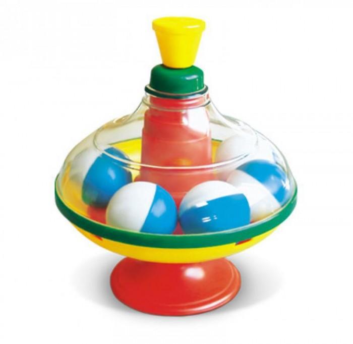 Развивающая игрушка Стеллар Юла с шарикамиЮла с шарикамиДинамическая игрушка для малышей. Стимулирует познавательную активность, помогает ребенку в установлении причинно-следственных связей между действиями и явлениями, развивает координацию и моторику рук.   Юла с шариками «Стеллар» имеет диаметр 13 см. Она стоит на пластмассовой подставке-ножке диаметром 8 см.  У юлы прозрачная верхняя часть, сквозь которую видно 7 двухцветных шариков. Стоит привести юлу в движение, как шарики начинают резво бегать по кругу, издавая веселый шум.  Внутри игрушки имеются пластмассовые шарики.  Стоит привести юлу в движение - шарики начинают вращаться и греметь, завораживая малышей.  Диаметр юлы - 14 см. Вес: 155 гр<br>