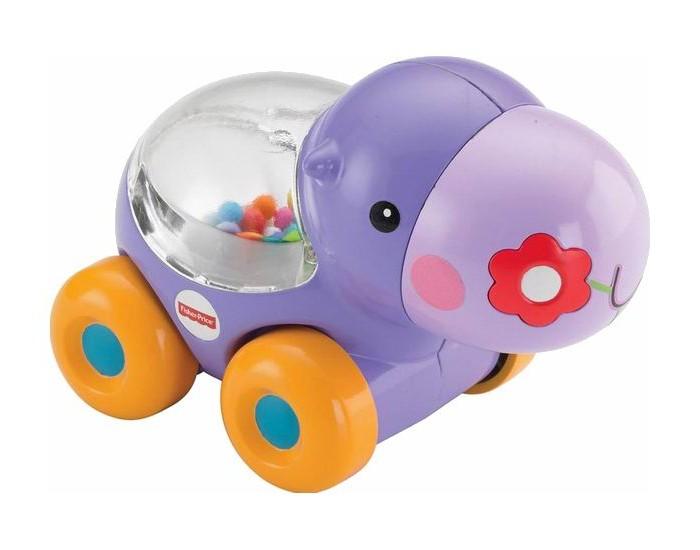 Каталка-игрушка Fisher Price Веселый бегемотикВеселый бегемотикУвлекательная игра с подпрыгивающими шариками и звуками поощряет малыша к подталкиванию игрушки и ползанию, что развивает навыки общей моторики.  Малыш толкает бегемотика, чтобы шарики начали весело подпрыгивать, постигая при этом причинно-следственные связи.  Яркие прыгающие шарики, блестящие отражения и веселые звуки закрепляют развивающиеся навыки малыша. Игрушка способствует развитию у ребенка координации, внимания, слуха и крупной моторики.<br>