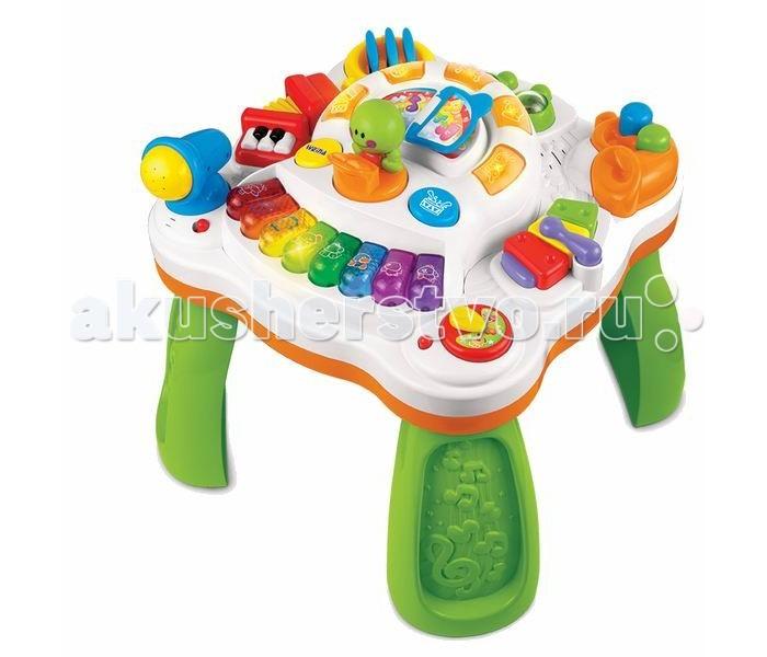 Игровой центр Weina Музыкальный столикМузыкальный столикИгрушку можно использовать как игровой столик, а сняв ножки, играть музыкальной игровой панелью на полу.  Малыш узнает как звучат барабан и маракас, ксилофон и арфа, саксофон и аккордеон. Нажав на кнопки пианино, малыш услышит звуки животных. Игра сопровождается световыми эффектами.  Нажав на дирижера, малыш услышит веселые мелодии маленького оркестра. Игровой столик поможет развить малышу музыкальный слух, чувство ритма и мелкую моторику рук.  Музыкальный игровой столик не оставит равнодушным вашего ребенка и познакомит с миром музыки.  Особенности: Для детей от 9 месяцев 10 музыкальных мелодий Звуковые и световые эффекты Можно использовать как столик и игровую панель Развивает музыкальный слух и чувство ритма Знакомит ребенка с музыкальными инструментами Переключатель с регулятором громкости Съемные ножки 3 батарейки AA (1.5 В) входят в комплект<br>