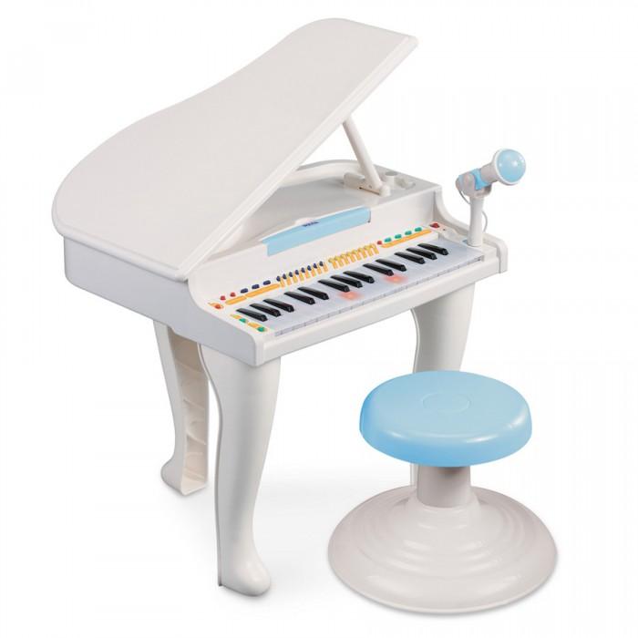 Музыкальная игрушка Weina ПианиноПианиноЭлектронное пианино развлечет Вашего ребенка!  Отлично подходит для развития музыкальных способностей вашего ребенка. Малыш погрузится на несколько часов в мир музыки.   При нажатии на клавиши пианино они вспыхивают веселыми огоньками. На начальном этапе обучения ребенок может сам отрегулировать удобный для себя темп и ритм. Пианино имеет регулятор громкости.   Магическая кнопка поможет вашему ребёнку великолепно играть, не нажимая на клавиши. Если ваш ребёнок не умеет играть на пианино, то лампочки встроенные в клавиши, подскажут ему куда нажимать.   Пианино устанавливается на ножки и комплектуется стульчиком. Музыкальное пианино разовьет у ребенка музыкальный слух, чувство ритма, поможет развить координацию рук и силу пальцев.  Особенности: Подходит для детей старше 36 месяцев Функция записи и воспроизведения 32 клавиши для игры 19 мелодий 8 шаблонов ритма и 8 инструментальных звуков 4 звука барабанов и их шаблонов Удобный держатель микрофона Регулятор громкости и темпа Функция автоматического отключения Комплектуется стульчиком Для работы нужны 4 батарейки AA (1.5 В), в комплект не входят<br>
