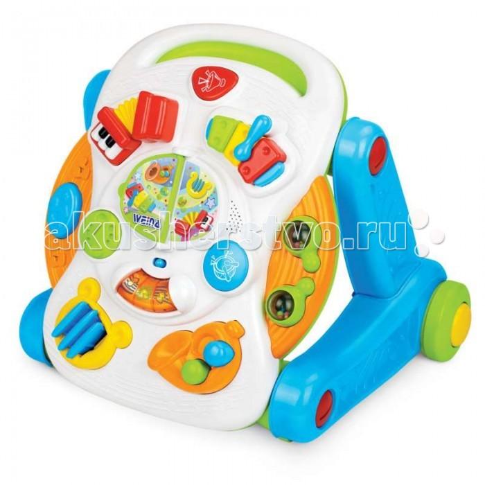 Игровой центр Weina 2 в 1 Симфония2 в 1 СимфонияИгровой центр Симфония - оригинальная игрушка 2 в 1 для малышей.   Для тех, кто только начал делать свои первые шаги, игрушка послужит в роли ходунков, для детишек постарше ходунки можно легко преобразовать в музыкальный столик.   Каталка-трансформер оснащена электронной развивающей панелью со звуковыми и световыми эффектами. Игрушка познакомит малыша со звучанием разных музыкальных инструментов: барабана, маракаса, ксилофона, арфы, саксофона, аккордеона. Такая игрушка надолго заинтересует Вашего малыша и станет ему прекрасным подарком.  Развитие навыков. Игры с музыкальным столиком способствуют развитию мелкой моторики и музыкального слуха. С помощью ходунков укрепляются мышцы ног, развивается координация.  Особенности: 2 в 1: ходунки и игровой музыкальный столик На передней части каталки расположена электронная развивающая панель Регулировка громкости звука Кнопка включения/отключения звука Тормозные фиксаторы на задних колёсах Удобная ручка и устойчивая конструкция Изделие выполнено из ударопрочного пластика Батарейки: 2 шт. типа АА (входят в комплект)<br>