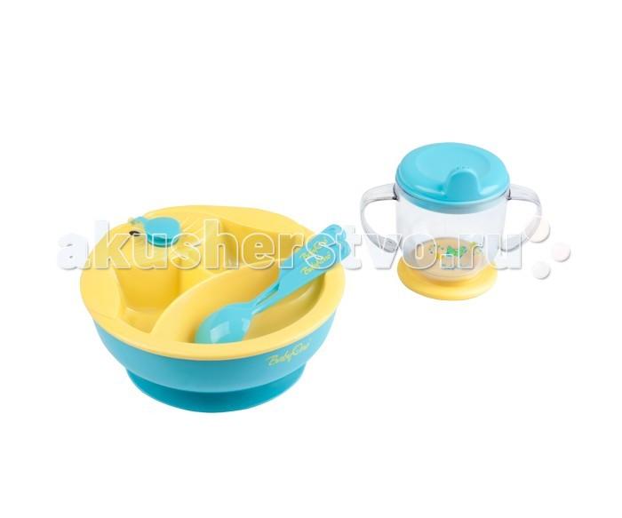 BabyOno Столовый набор 238Столовый набор 238Набор посуды (тарелочка с подогревающим дном, ложечка и вилочка для кормления, поильник с ручками) BabyOno 238  Практичный: подогреваемое дно миски позволяет дольше поддерживать температуру пищи три секции дают возможность разделения пищи присоска предотвращает перемещение миски по столу ударостойкая посуда идеальный набор для освоения навыков самостоятельного приёма пищи изготовлен из безопасных материалов, предназначенных для контакта с пищей  В комплекте: тарелка с подогревающим дном вилка и ложка тренировочная кружка<br>