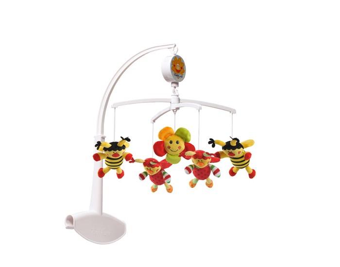 Мобиль BabyOno Божьи коровкиБожьи коровкиМобиль BabyOno предназначен для самых маленьких малышей. Помогает им в развитии фиксирования зрения на движущихся предметах, улучшает засыпание. Цветные игрушки привлекут его внимание, а звук мелодии позволит ребёнку успокоиться. Благодаря специально запроектированному креплению карусель можно устанавливать как в туристической, так и в деревянной кроватке.  Развивающая: развивает осязательные, зрительные и двигательные способности учит различать формы и цвета стимулирует воображение ребёнка звуки мелодии развивают способность различать силу звука  Универсальная: подвижные элементы, разнообразные цвета и формы вызывают интерес и привлекают внимание ребёнка оказывает успокаивающее действие, помогая заснуть имеет универсальное крепление для кроваток  Размер в собранном виде 56.5 см.<br>