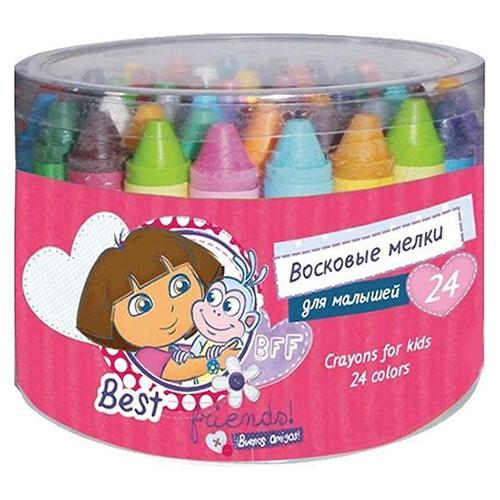 Мелки Kuso восковые для малышей Даша-путешественница, 24 цвета